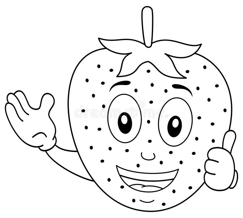 Coloring Cheerful Strawberry Character Stock Vector ...