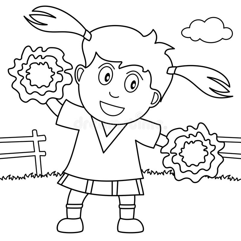 Coloring Cheerleader Girl in the Park royalty free illustration