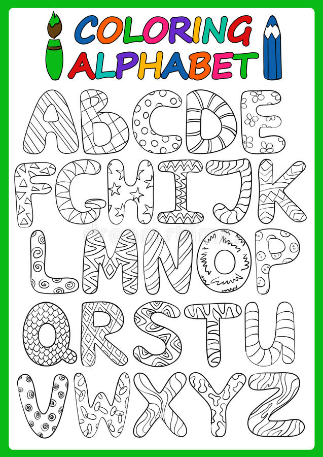Coloring Children Alphabet With Cartoon Capital Letters ...