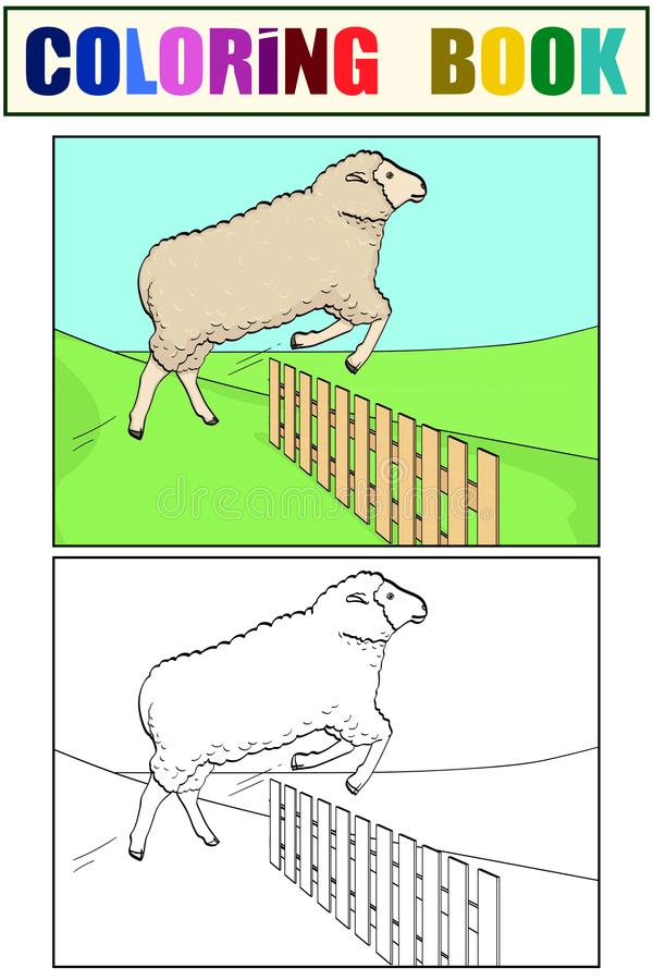Coloring for children and color, the sheep jumps over the fence. Training animals on the farm. Vector stock illustration