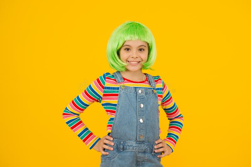 Coloring childs hair great way upgrade costume. Change color. Pigment dye hair. Growing freedom for self expression royalty free stock photo