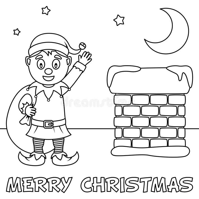 Coloring Christmas Card with Cute Elf. A coloring Christmas card with a cute elf holding the sack of the gifts near a chimney. Useful also for educational or royalty free illustration