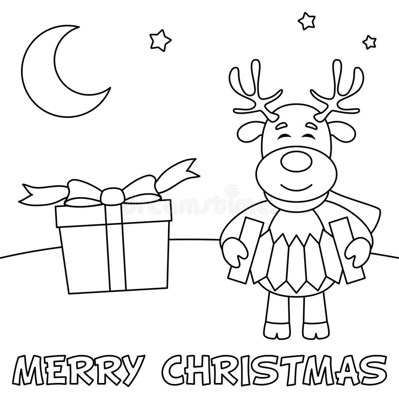 Coloring Christmas Card with Reindeer. A coloring Christmas card with a cute reindeer playing the accordion and a gift. Useful also for educational or colouring stock illustration