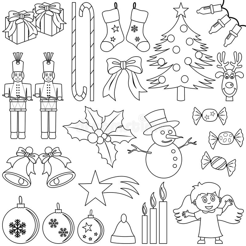 Coloring Christmas Elements. Christmas icons and symbols set, black and white version. Useful also for educational or colouring books for kids. You can find vector illustration
