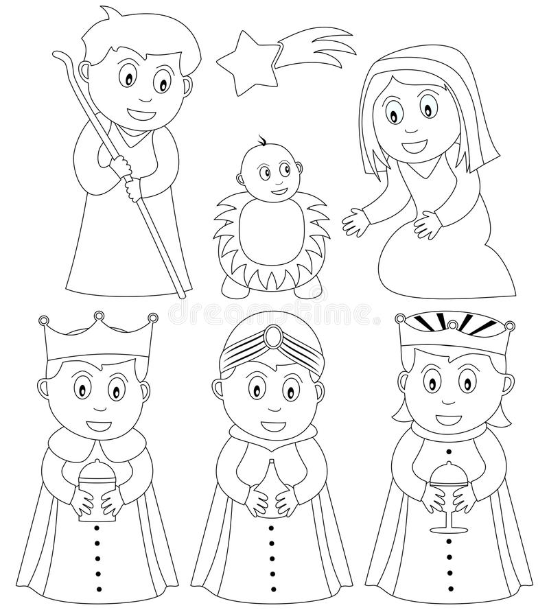 Coloring Christmas Nativity stock illustration