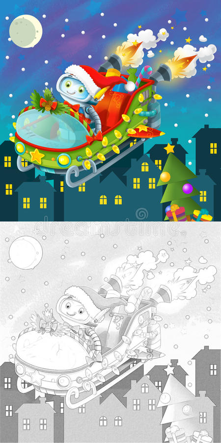 Download The Coloring Christmas Page With Colorful Preview Stock Illustration - Illustration: 34696103