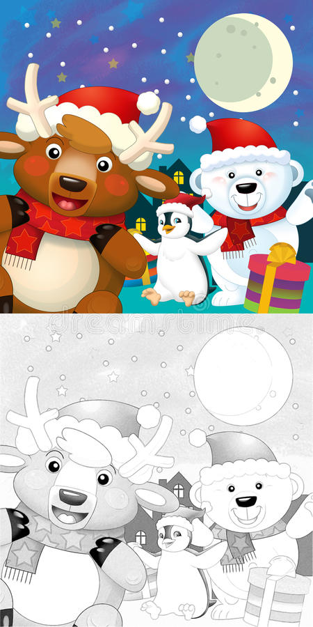Download The Coloring Christmas Page With Colorful Preview Stock Illustration - Image: 34697005