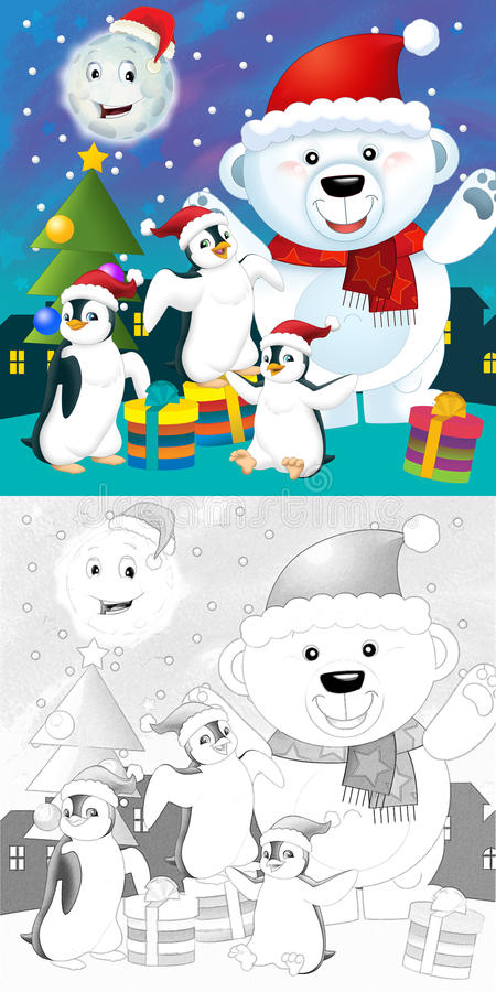 Download The Coloring Christmas Page With Colorful Preview Stock Illustration - Image: 34697072