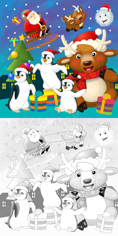 Download The Coloring Christmas Page With Colorful Preview Stock Illustration - Illustration of funny, costume: 34697095
