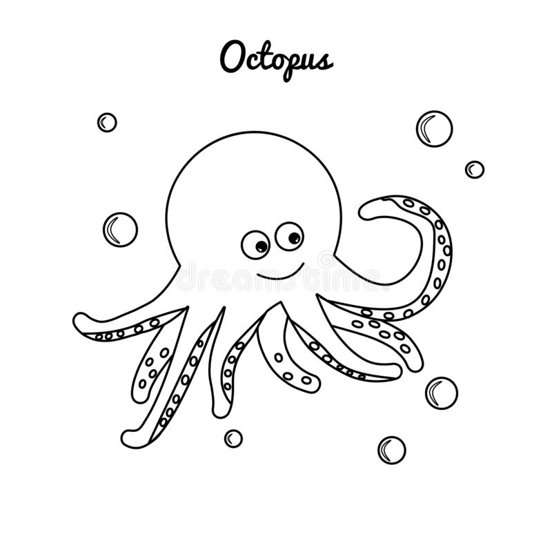 Coloring comic cartoon octopus with water bubbles. Vector clam with tentacles. Sea dwelling contour isolated on white background. vector illustration