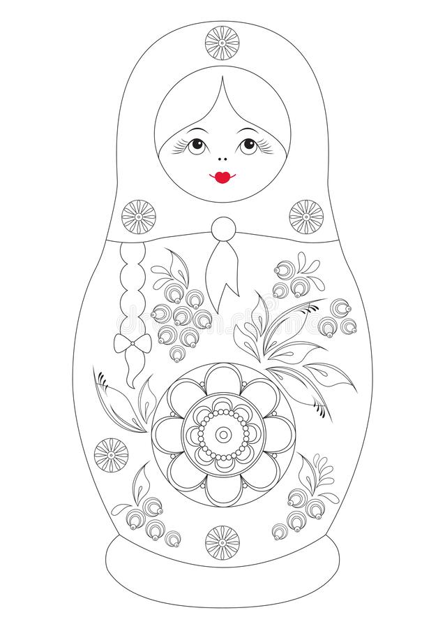 Coloring contour book for children. Traditional souvenir Russian floral folk matryoshka babushka doll. Gorodets painting royalty free illustration