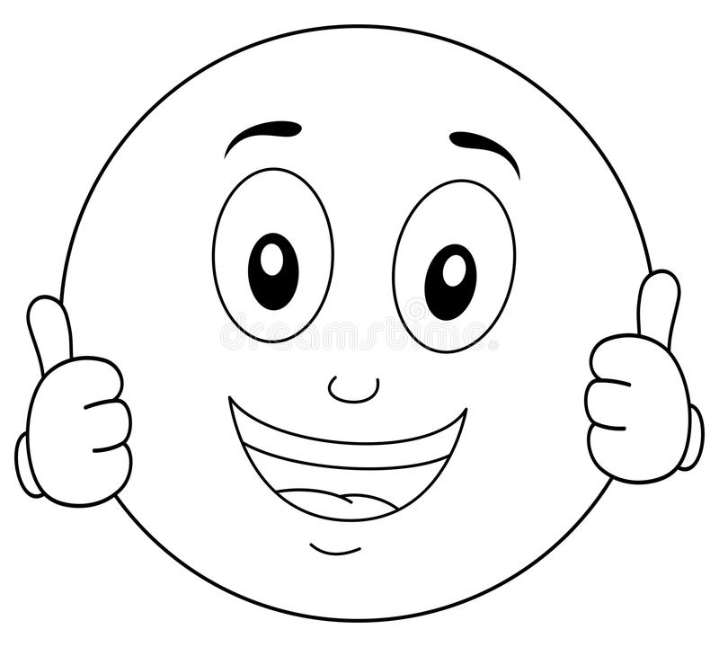 Smiley coloring pages for free ~ Coloring Cool Smiley Character Thumbs Up Stock Vector ...