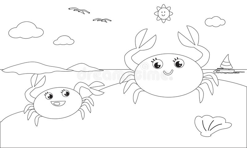 Coloring crab family on the beach stock illustration
