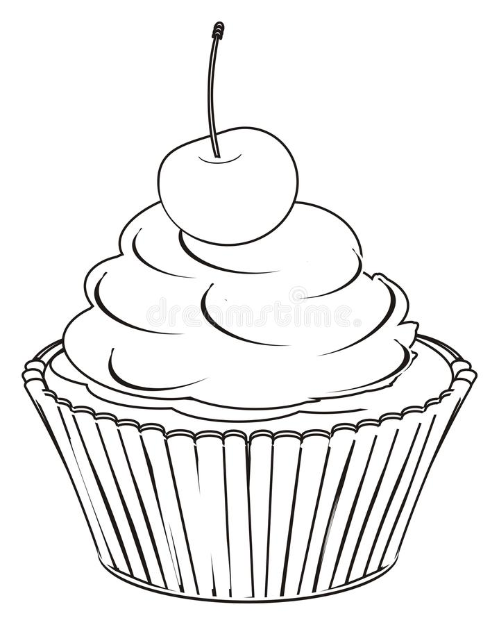 Paint cupcake with berry. Coloring cupcake with one cherry royalty free illustration
