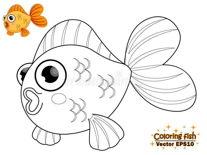 Coloring the cute cartoon fish. educational game for kids. Vector illustration. Children and educational stock illustration