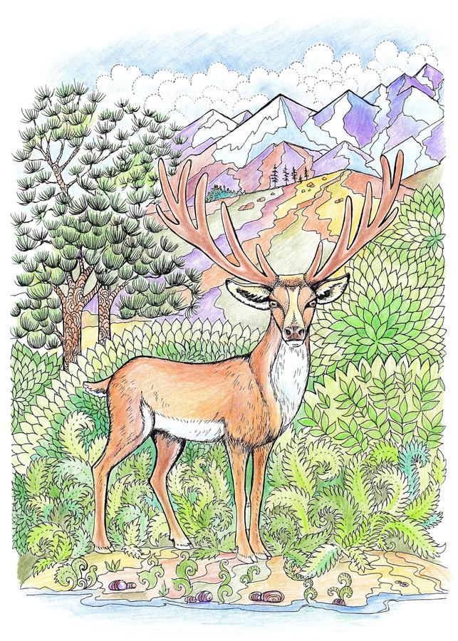 Coloring deer with antlers. On the background of mountains royalty free illustration