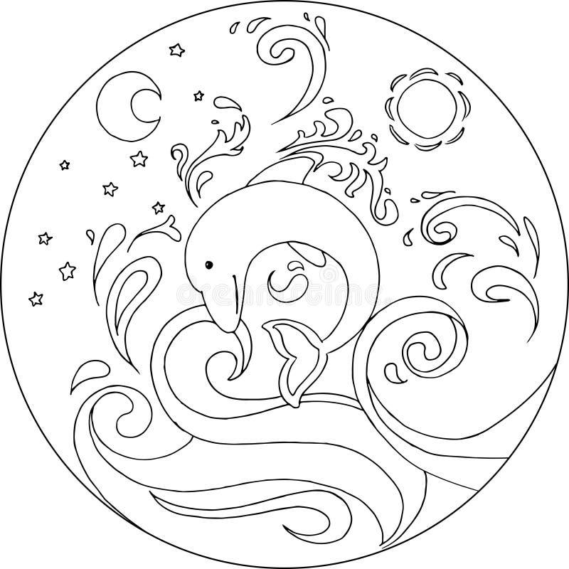 coloring dolphin mandala stock vector illustration of