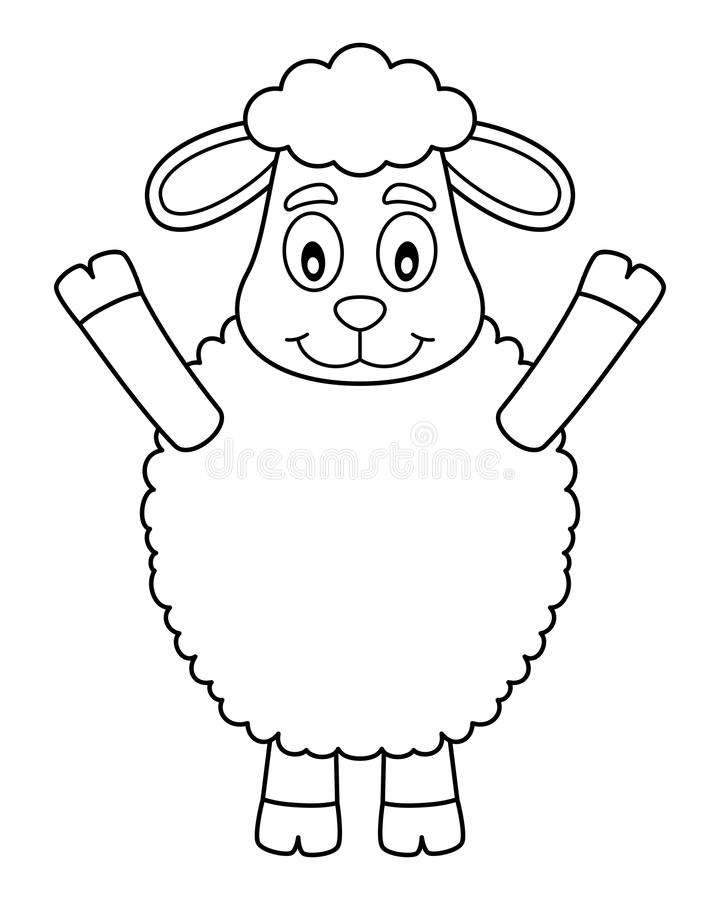 Coloring Easter Cute Lamb. A happy cartoon lamb, isolated on white background. Eps file available royalty free illustration