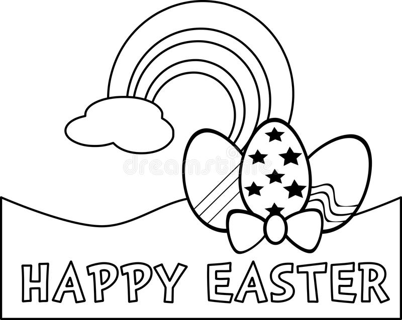 Coloring easter eggs in black and white stock illustration