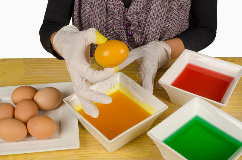 Coloring eggs for Easter stock photo