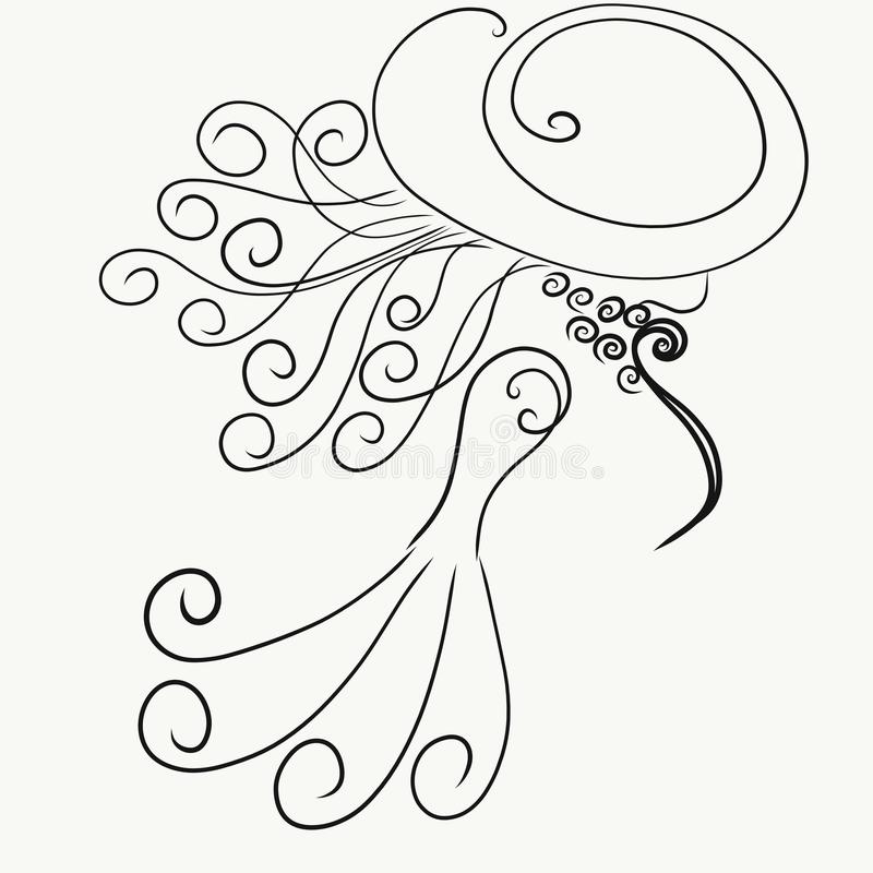 Coloring, elegant silhouette of a lady in a hat with hair developing on wind, painted lines with swirls stock illustration