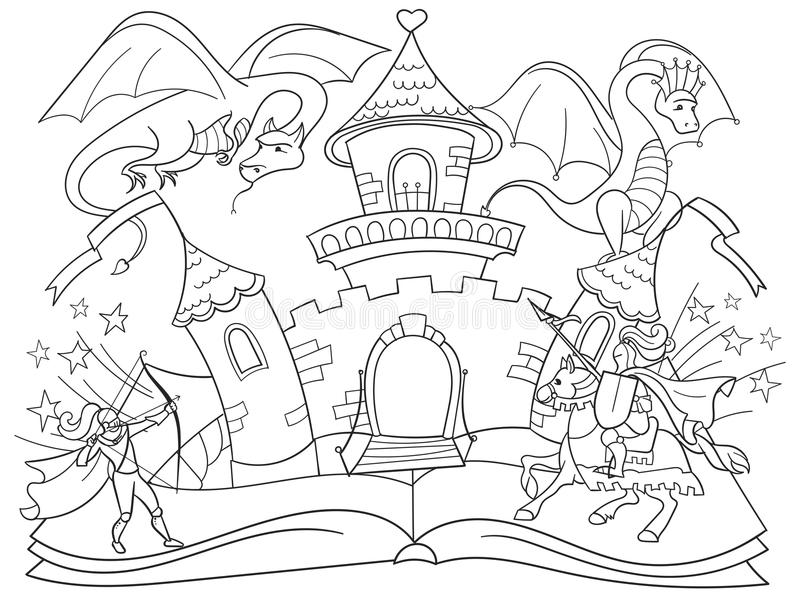 Coloring fairy open book tale concept kids illustration with evil dragon, brave warrior and magic castle. royalty free stock image