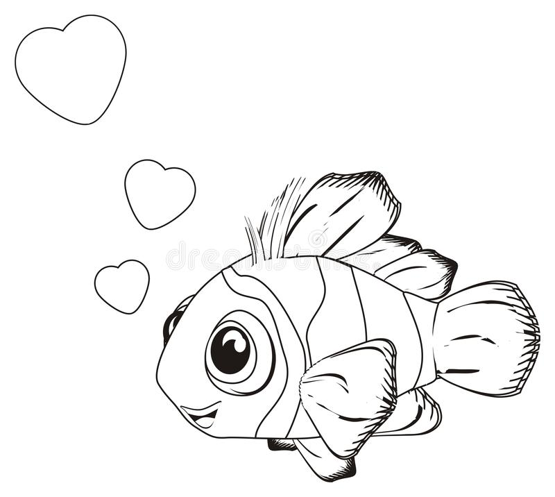 Coloring fish in love royalty free illustration