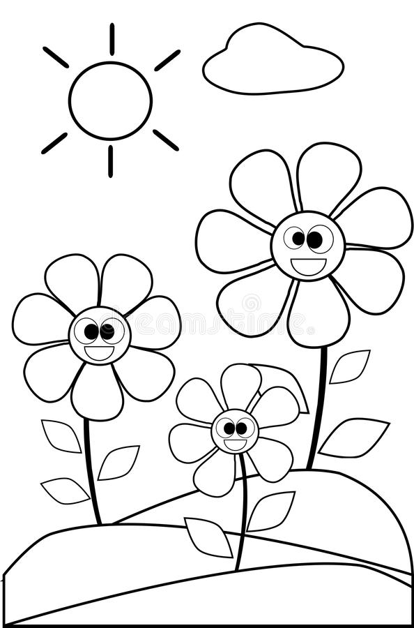 Coloring Flowers In Black And White Stock Vector