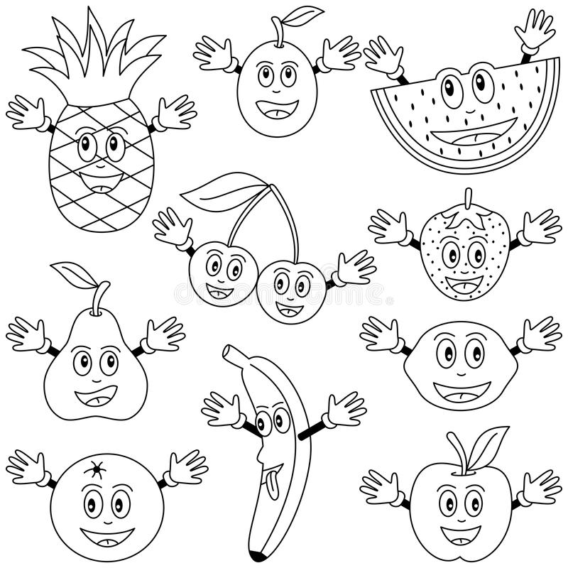 Coloring Fruit Characters. Collection of ten funny cartoon fruit characters (apple, pear, orange, banana, cherries, strawberry, lemon, watermelon, plum and royalty free illustration