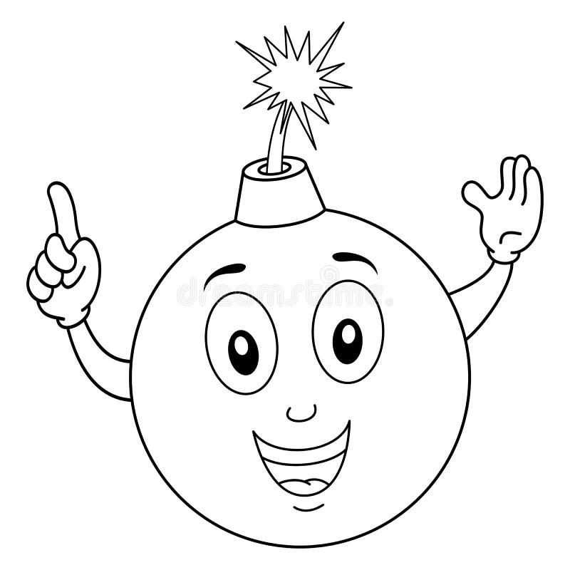 Coloring Funny Bomb Cartoon Character royalty free illustration