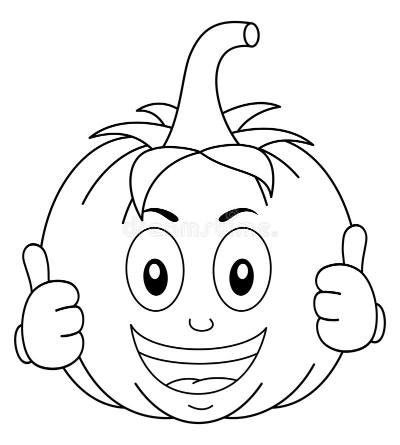 Coloring Funny Pumpkin Cartoon Character royalty free illustration