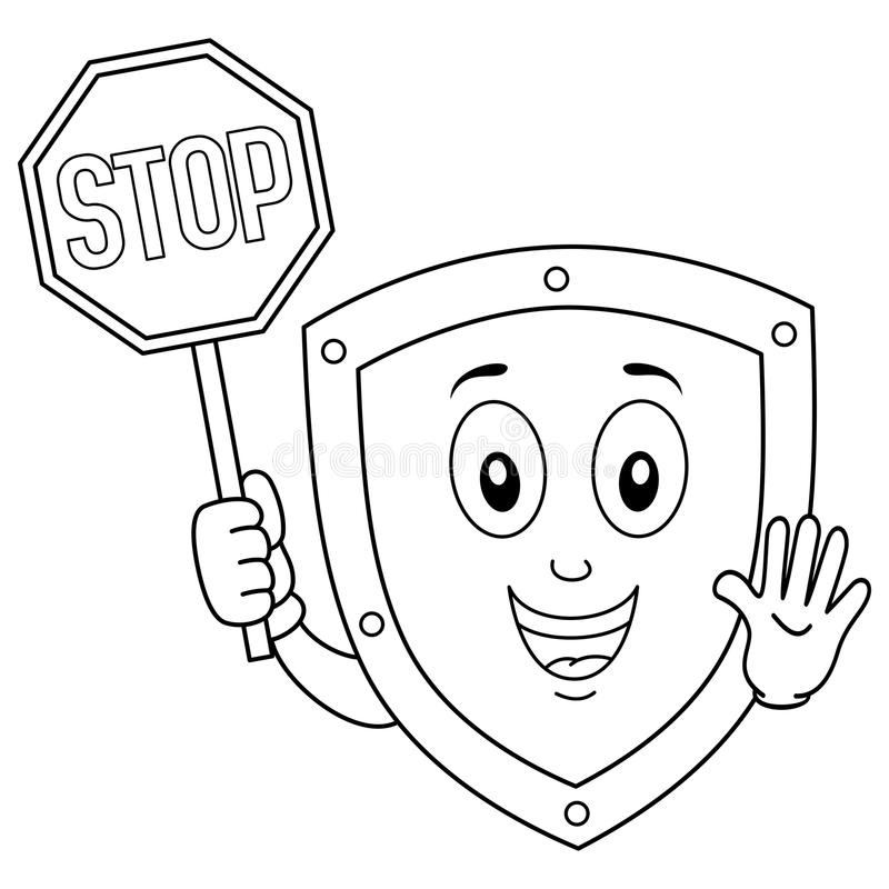 Coloring Funny Shield Holding Stop Sign stock illustration