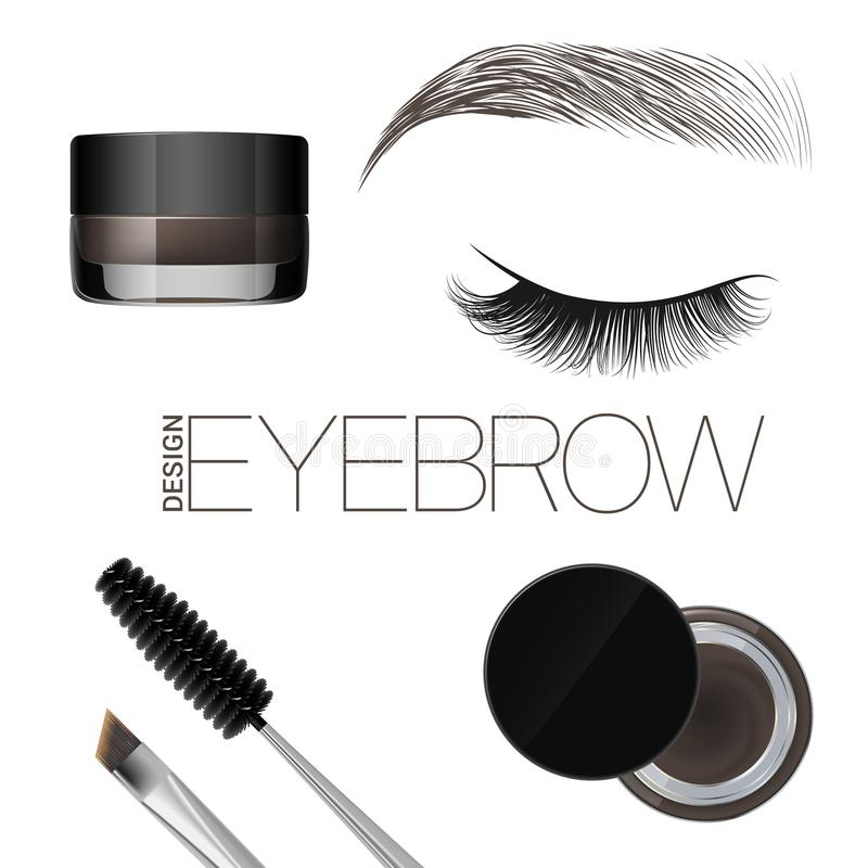 Coloring gel for eyebrows. Eyebrows makeup. Brush and comb for eyebrow. Beautiful closed eye and brow. Isolated on a white backgro stock illustration