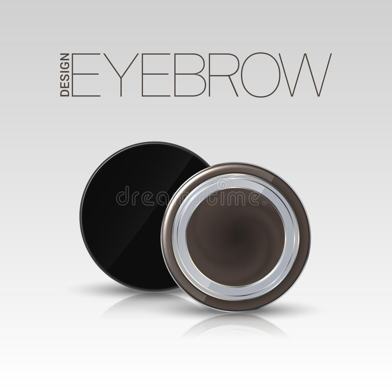 Coloring gel for eyebrows. Eyebrows makeup product. Vector royalty free illustration