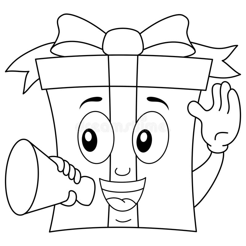 Coloring Gift Character with Megaphone stock image
