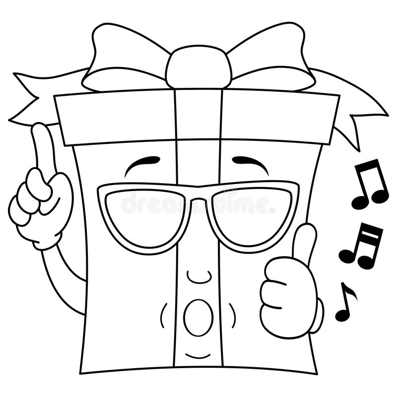 Coloring Gift Whistling with Sunglasses royalty free stock images