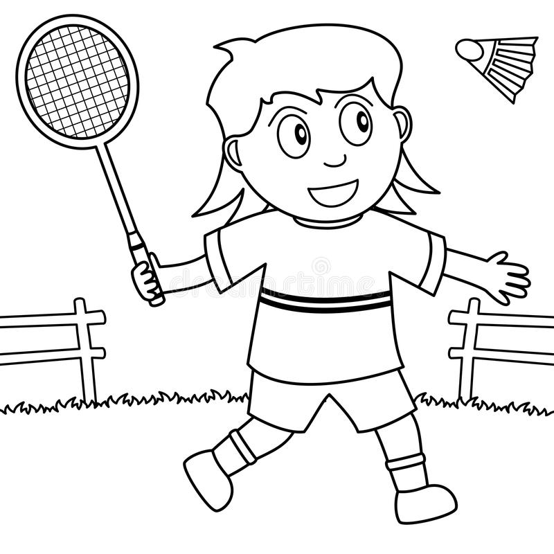Coloring girl playing badminton in the park stock vector for Badminton coloring pages