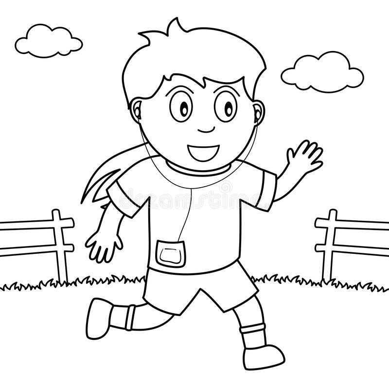 Coloring Girl Running Or Jogging In The Park Stock Vector ...