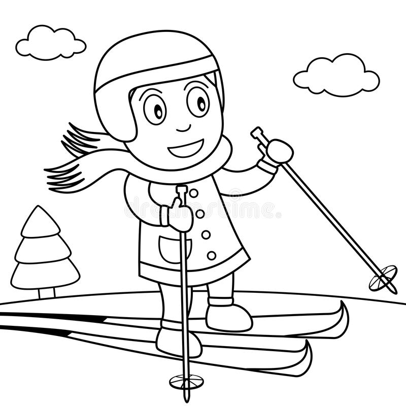 Coloring Girl Skiing on the Snow in the Park royalty free illustration