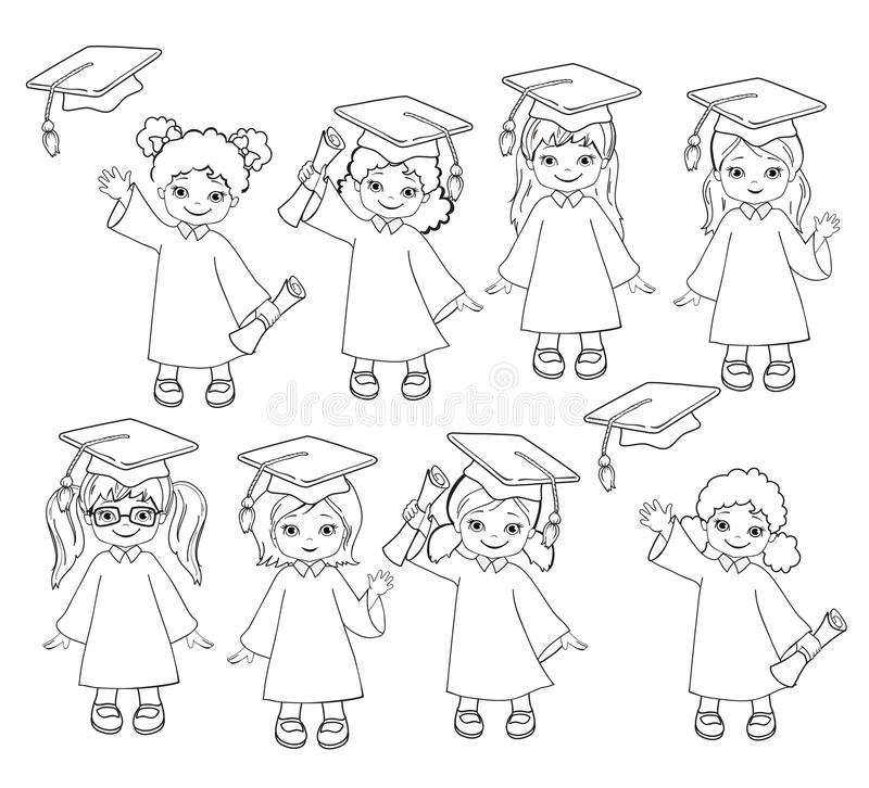 Coloring. Girls. Set Of Children In A Graduation Gown And ...