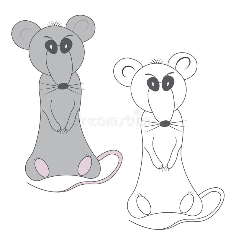 Coloring gray gloomy displeased rat and unpainted outline silhouette in cartoon style on a white background.  royalty free illustration