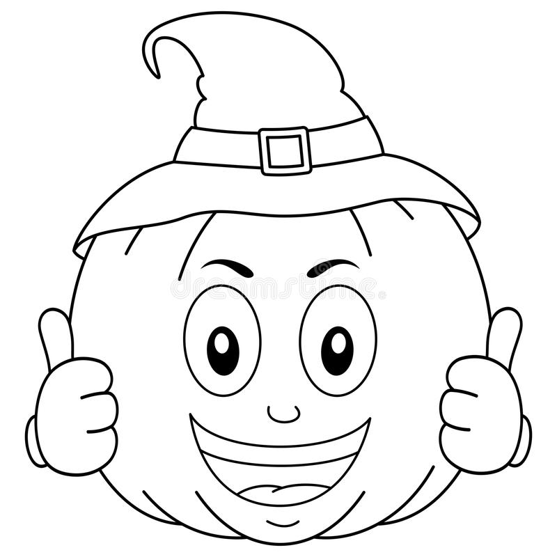 Free Coloring Happy Halloween Pumpkin With Hat Royalty Free Stock Image - 83489376