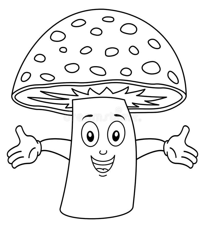 Coloring Happy Mushroom Character royalty free illustration