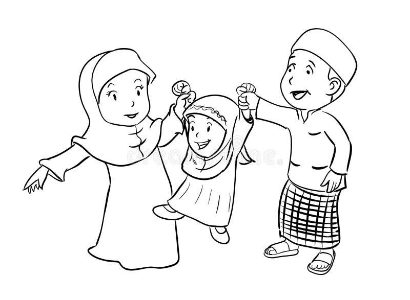 Coloring Happy Muslim Family - Vector Illustration vector illustration