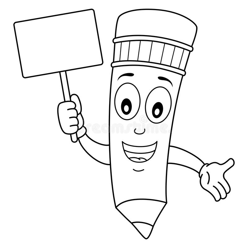 Happy Pencil Character Holding Banner Stock Vector ...