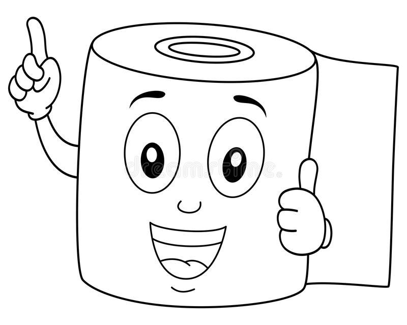 Coloring Happy Toilet Paper Smiling. Coloring illustration for kids: a funny cartoon toilet paper character smiling with thumbs up, isolated on white background stock illustration