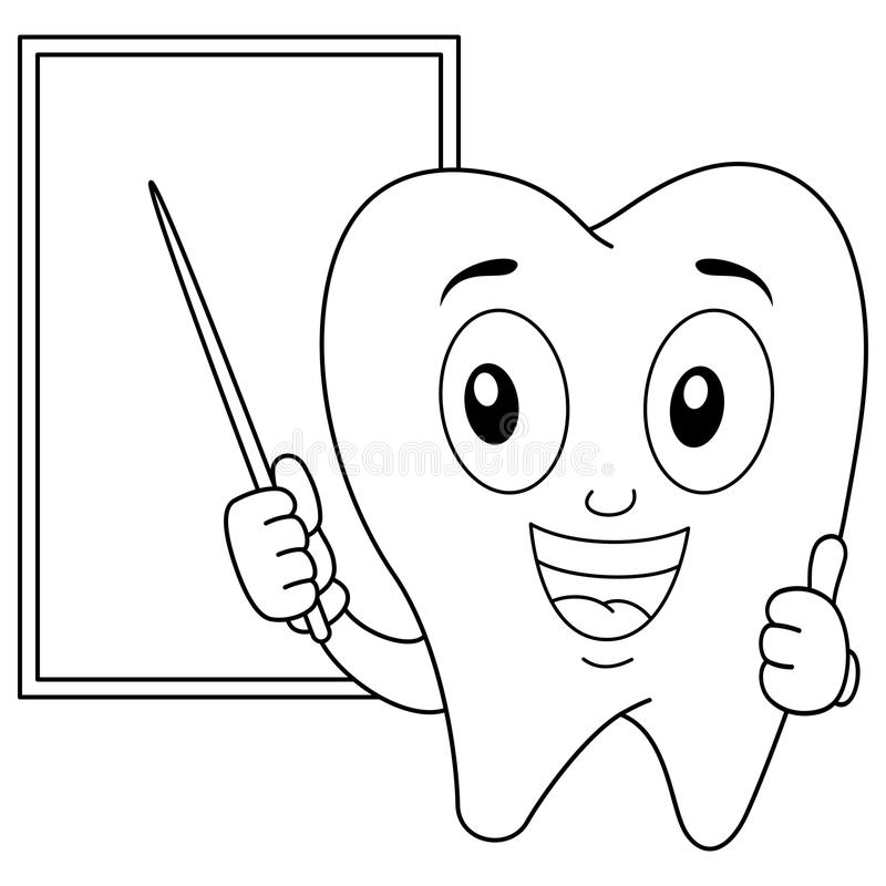 Coloring Happy Tooth Character And Board Stock Vector - Illustration ...
