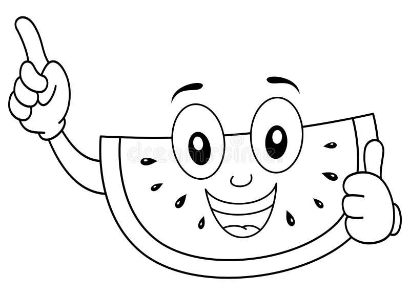 Coloring Happy Watermelon Smiling Stock Vector