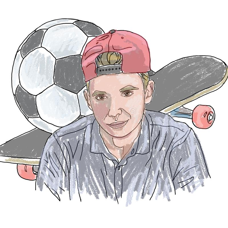 Coloring, linear drawing, boy, teenager, skateboard, soccer ball, hobby, personalized portrait, portrait, for coloring, cute drawi. Coloring, linear drawing, boy vector illustration
