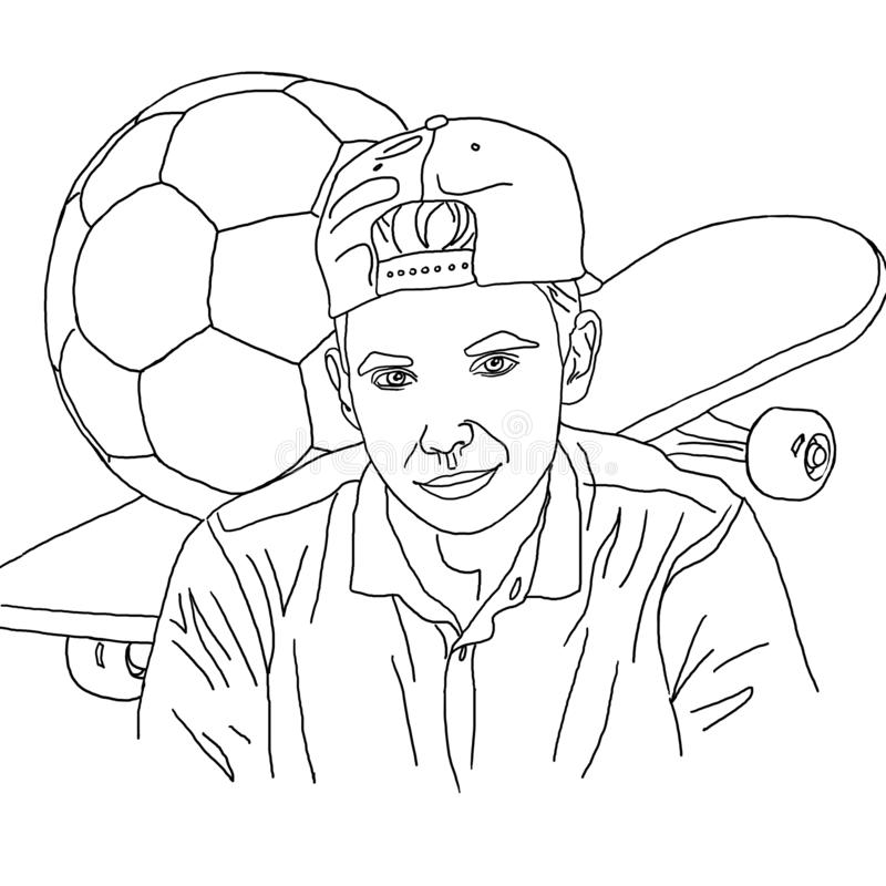 Coloring, linear drawing, boy, teenager, skateboard, soccer ball, hobby, personalized portrait, portrait, for coloring, cute drawi. Coloring, linear drawing, boy stock illustration